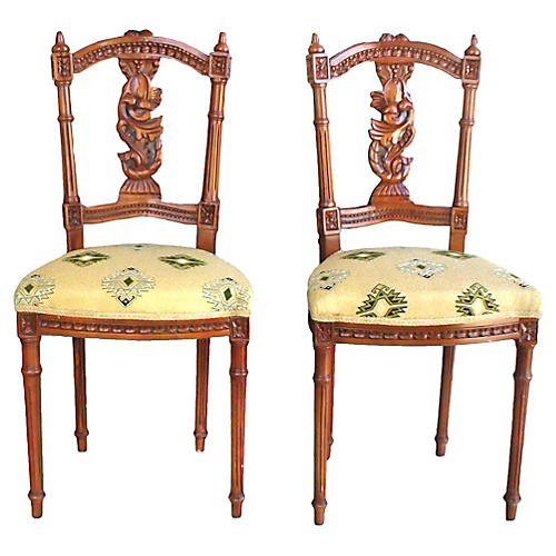 Hand-Carved Walnut Side Chairs, Pair