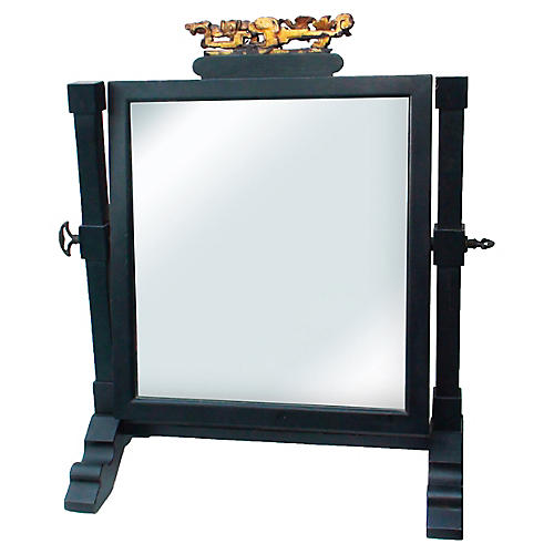 19th-C Japanese Lacquered Shaving Mirror