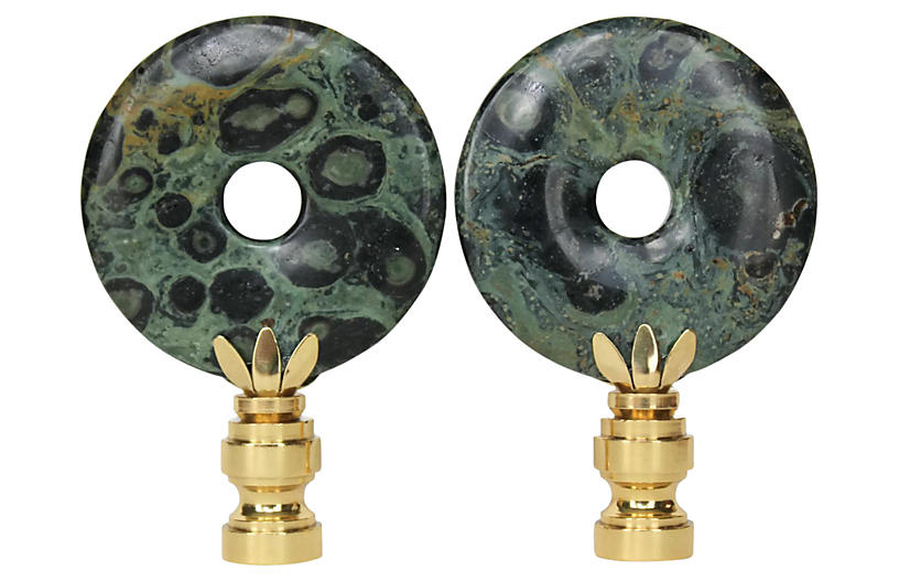 Kambaba Jasper Lamp Finials, Pair