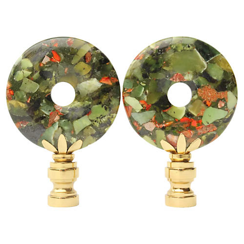Chrysoprase & Jasper Lamp Finials, Pair