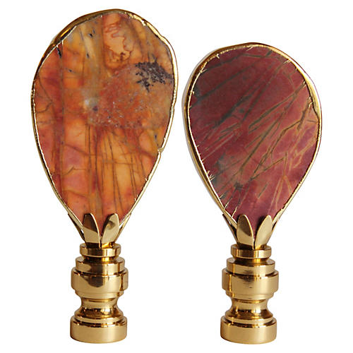 Gilded Picasso Jasper Lamp Finials, Pair