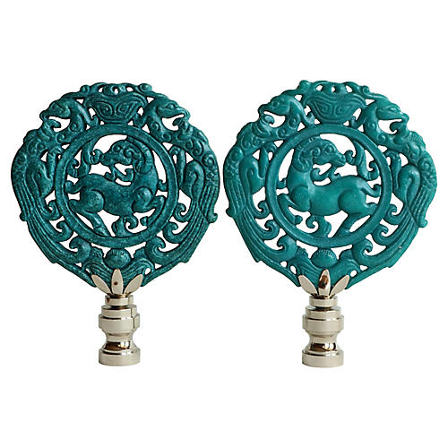 Wreathed Stag Lamp Finials, Pair