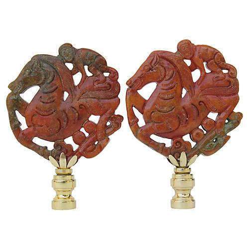 Asian Monkey Horseman Lamp Finials, Pair