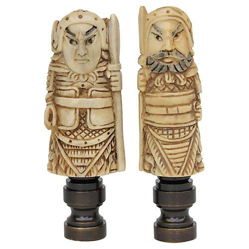 Japanese Netsuke Lamp Finials, Pair