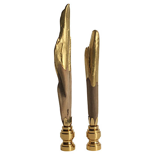 Gold Dipped Driftwood Lamp Finials, Pair