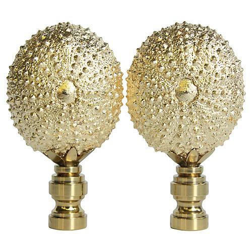 Gilded Sea Urchin Lamp Finials, Pair