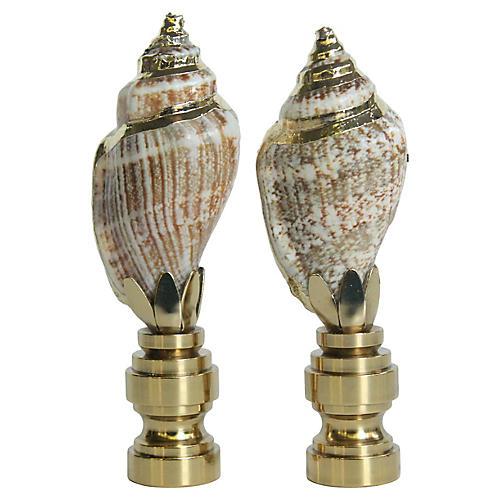 Gilded Seashell Lamp Finials, Pair