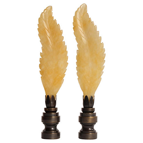 Carved Stone Leaf Lamp Finials, Pair