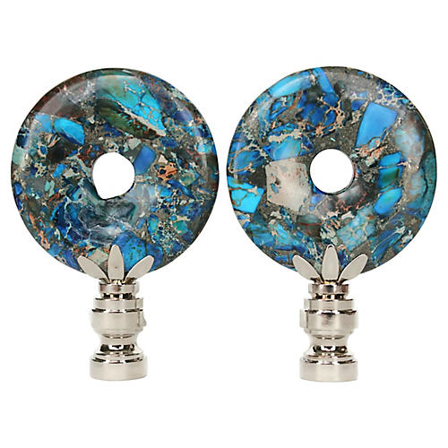 Peacock Jasper Lamp Finials, Pair