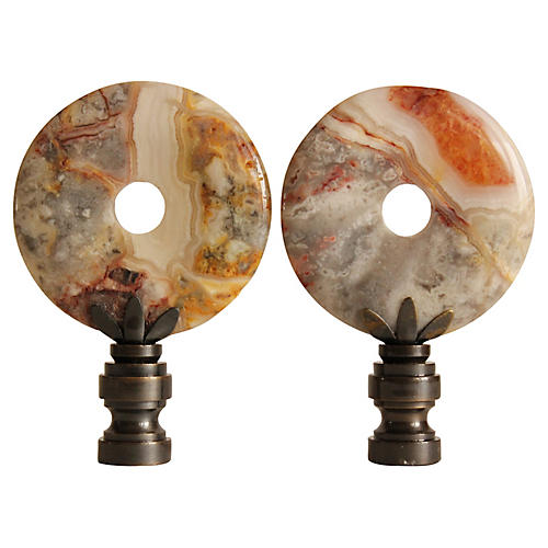 Crazy Lace Agate Lamp Finials, Pair