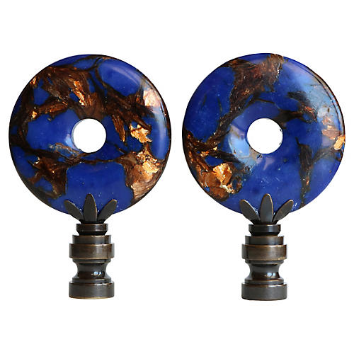 Lapis and Bronzite Lamp Finials, Pair