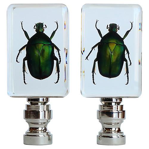 Jewel Scarab Lamp Finials, Pair