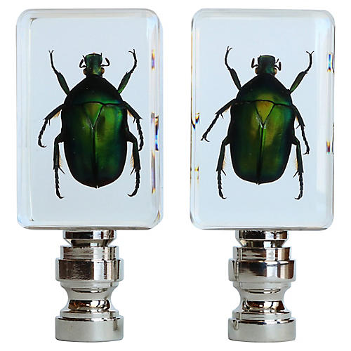 Jewel Scarab Lamp Finials, Pair