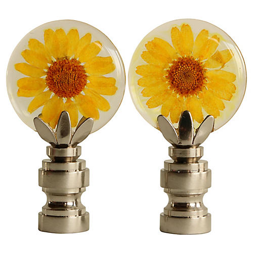 Yellow Daisy Lamp Finials, Pair