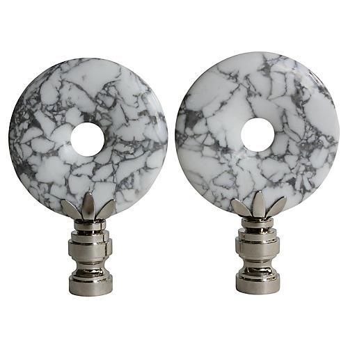 Marbled White Howlite Lamp Finials, Pair
