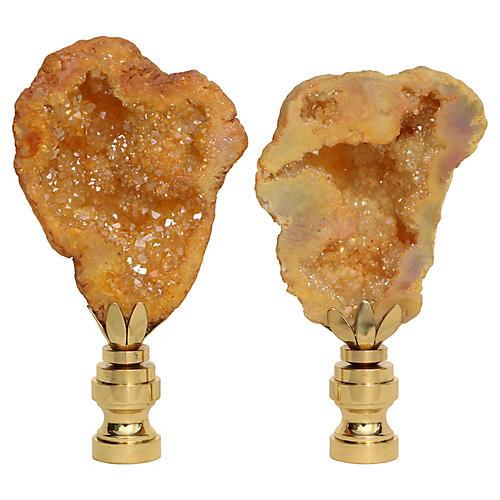 Honey Geode Lamp Finials, Pair