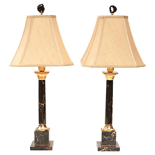 Portoro Marble Table Lamps, Pair