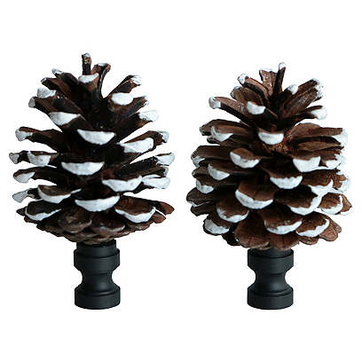 Frosted Pinecone Lamp Finials, Pair