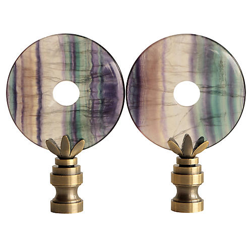 Fluorite Lamp Finials, Pair