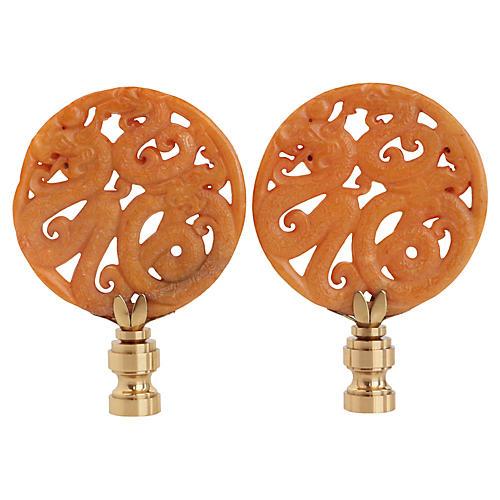 Coiled Dragon Lamp Finials, Pair