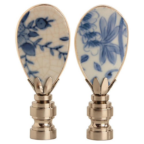 Blue & White Pottery Lamp Finials, Pair