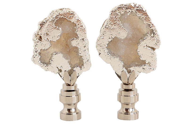 Silver Plated Geode Lamp Finials, Pair