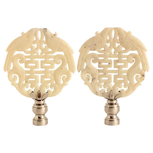 Double Happiness Lamp Finials, Pair