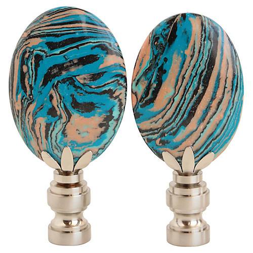 Swirled Beach Blue Lamp Finials, Pair