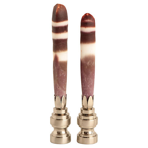 Urchin Spine Lamp Finials, Pair