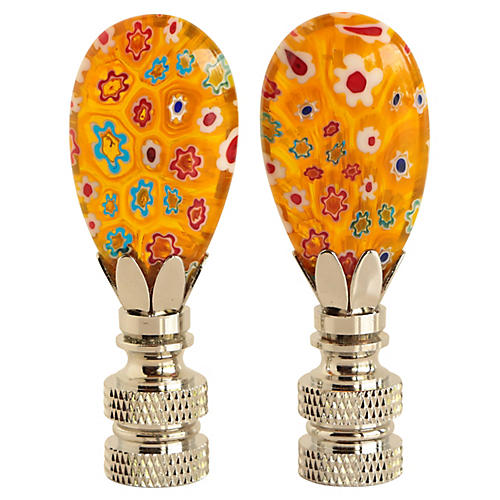 Yellow Millefiori Lamp Finials, Pair