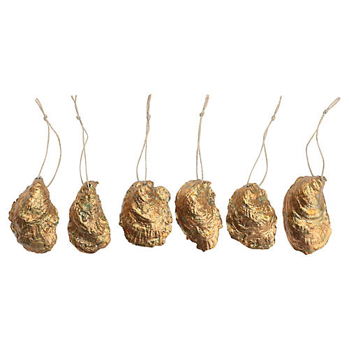 Surf Gilded Oyster Shell Ornaments, S/6