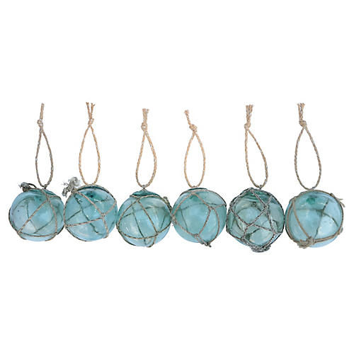 Nautical Fishing Float Ornaments, S/6