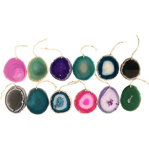 Agate Slice Ornaments, S/12