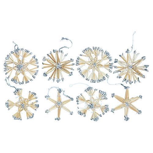 Scandinavian Snowflake Ornaments, S/8