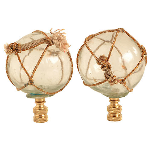 Netted Clear Glass Lamp Finials, Pair