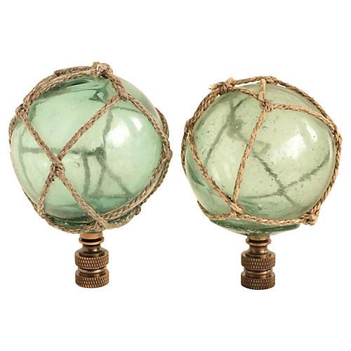 Netted Aqua Glass Lamp Finials, Pair