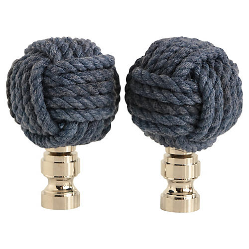 Nautical Knot Lamp Finials, Pair