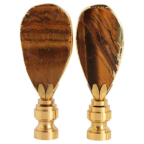 Gilded Tiger's Eye Lamp Finials, Pair