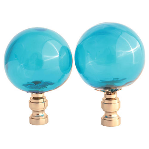 Blown Glass Lamp Finials, Pair