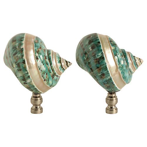 Banded Shell Lamp Finials, Pair
