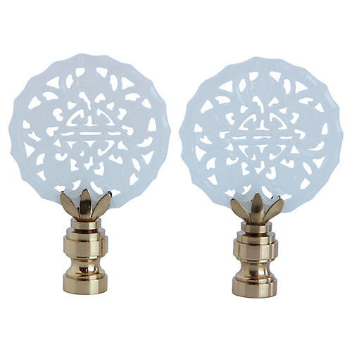 Chinoiserie Lace Lamp Finials, Pair