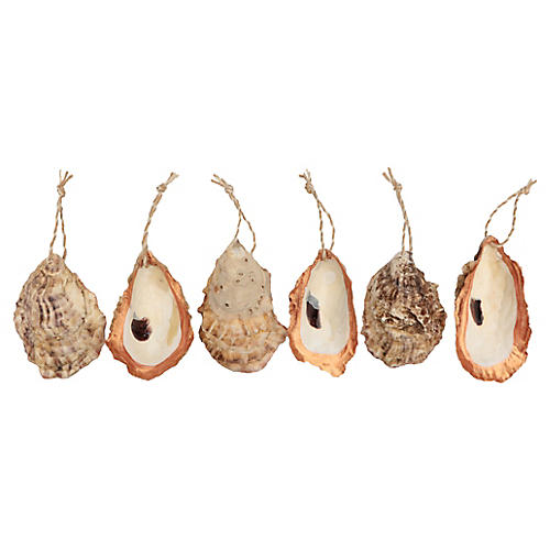 Copper Edged Oyster Shell Ornaments, S/6