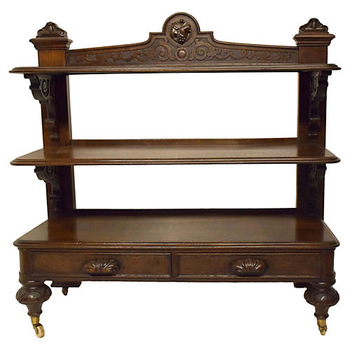 19th-C. English Oak Trolley