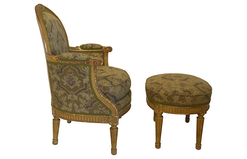 19th-C. French Bergère & Footstool