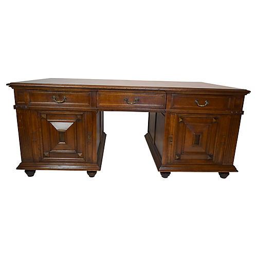French Oak Partner's Raised Panel Desk