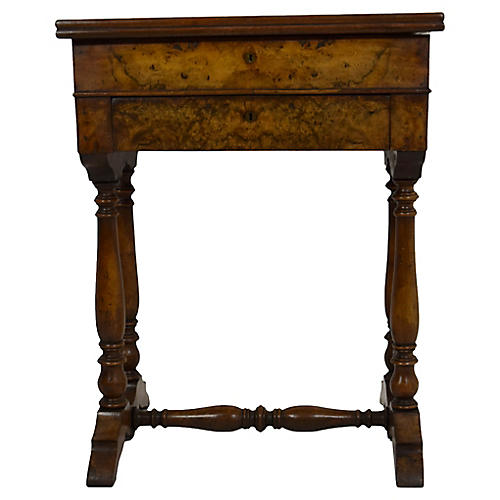 19th-C. Walnut & Burl-Walnut Side Table