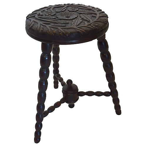 19th-C. English Carved Stool