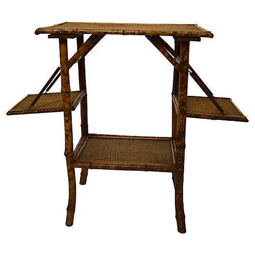 19th-C. Folding Bamboo Table
