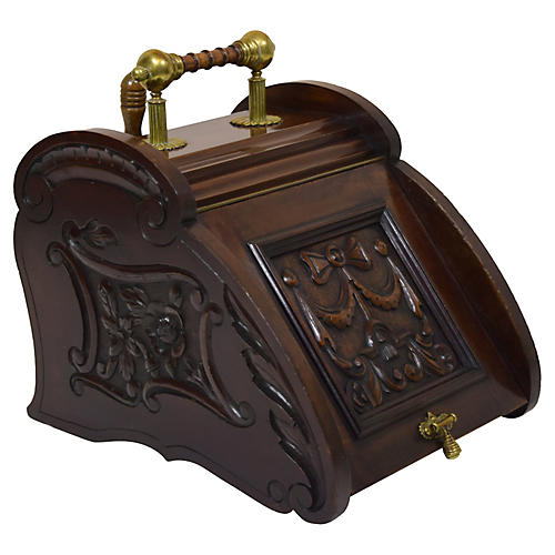 19th-C. English Mahogany & Oak Coal Hod