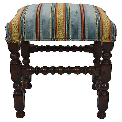 19th-C. Upholstered Oak Footstool